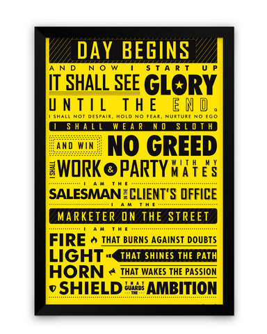 Framed Poster | Startup Oath Motivational Yellow Framed Poster PosterGuy.in