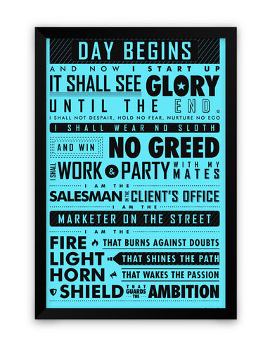 Framed Poster | Startup Oath Motivational Blue Framed Poster PosterGuy.in