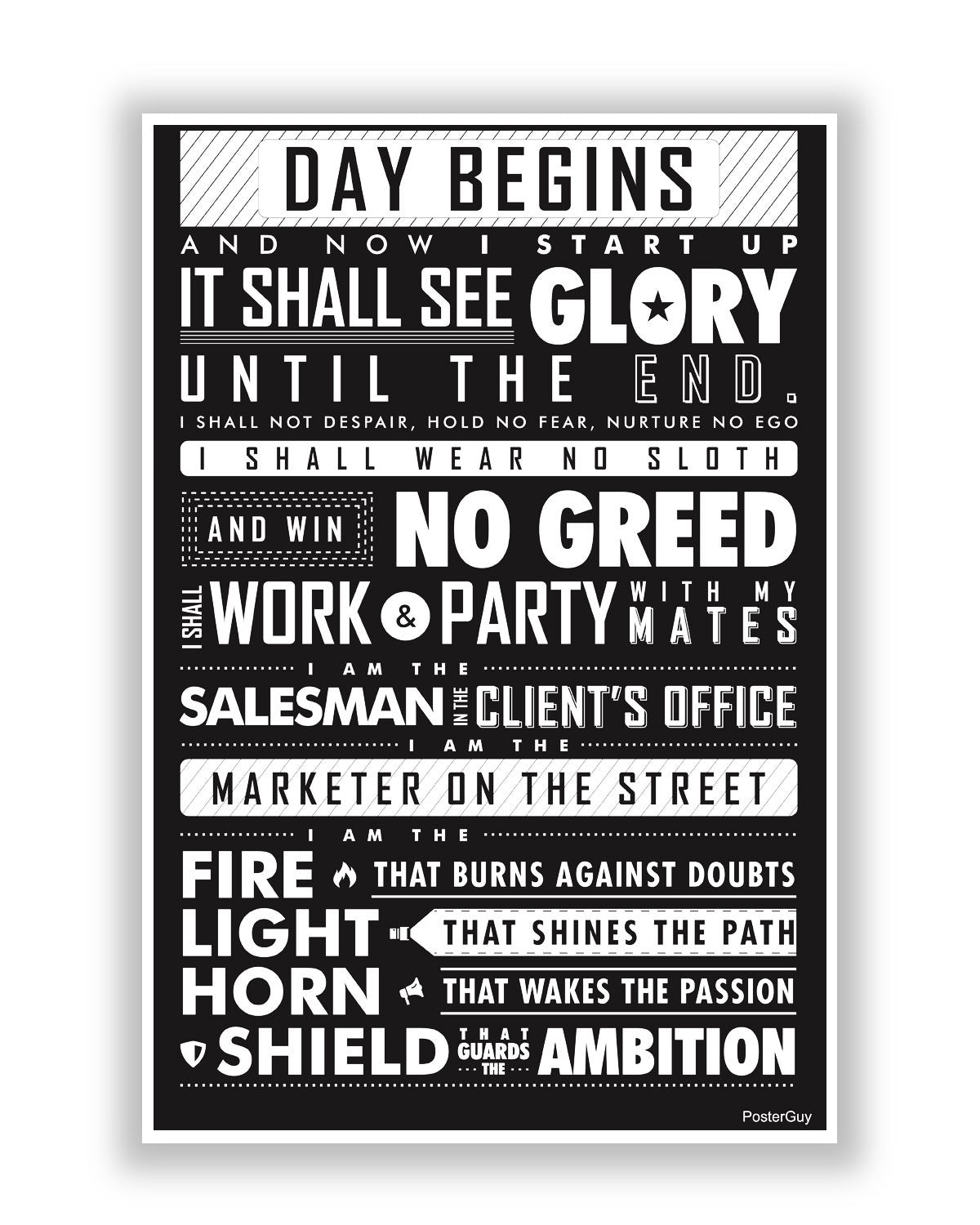 Startup Oath Motivational White Poster