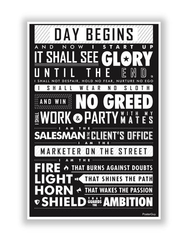 Buy Motivational Posters Online | Startup Oath Motivational White Poster | PosterGuy.in