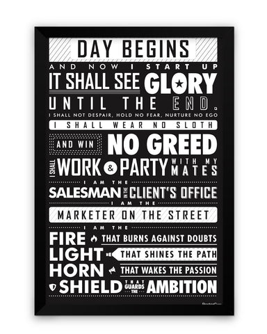 Framed Poster | Startup Oath Motivational White Framed Poster PosterGuy.in