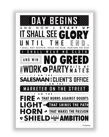 Buy Motivational Posters Online | Startup Oath Motivational Black Poster | PosterGuy.in