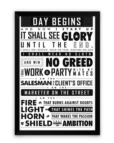 Framed Poster | Startup Oath Motivational Black Framed Poster PosterGuy.in