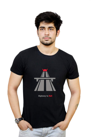 Buy Funny T-Shirts Online India | Ac/Dc Highway To Hell Minimalist T-Shirt Funky, Cool, T-Shirts | PosterGuy.in