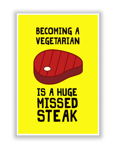 Buy Quirky Posters Online | Becoming a Vegetarian Funny Poster | PosterGuy.in