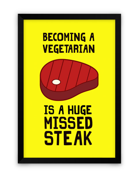 Framed Poster | Becoming a Vegetarian Funny Framed Poster PosterGuy.in