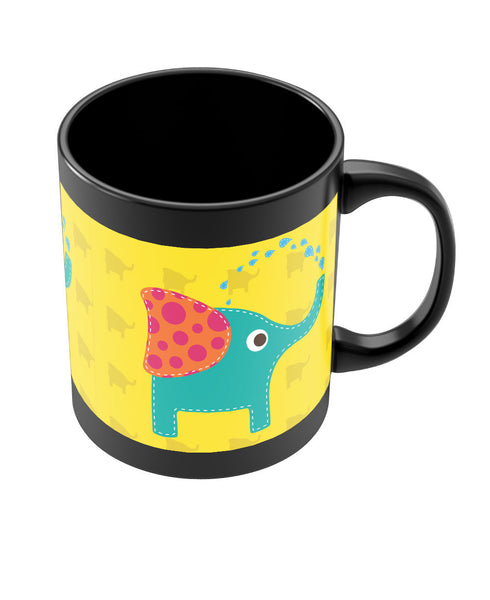Blue Elephant Quirky Black Coffee Mug Online India | PosterGuy.in