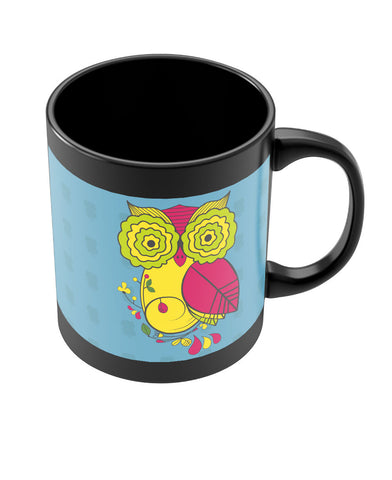 Owl Blue Quirky Art Print Black Coffee Mug Online India | PosterGuy.in