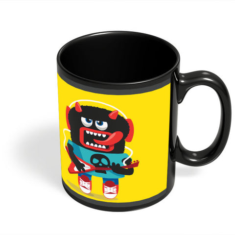 Coffee Mugs Online | Pop Art Monster Guitar Black Coffee Mug Online India