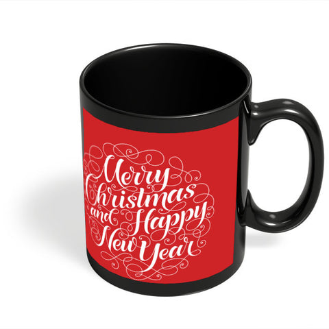 Coffee Mugs Online | New Year & Christmas Typography Black Coffee Mug Online India
