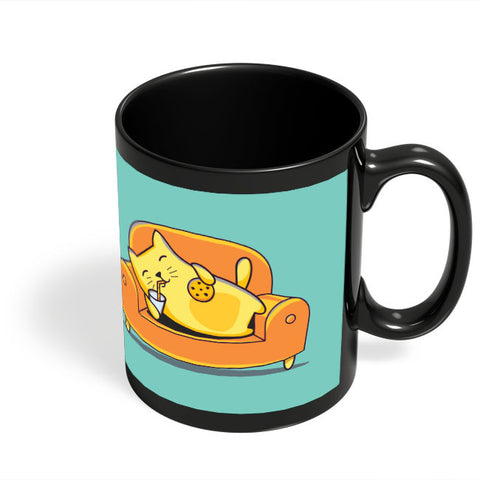 Coffee Mugs Online | Lazy Cat Black Coffee Mug Online India