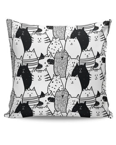 PosterGuy | Black & White Cat Pattern Cushion Cover Online India