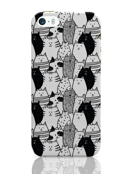 iPhone 5 / 5S Cases & Covers | Black & White Cat Pattern iPhone 5 / 5S Case Online India