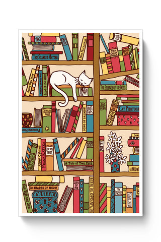 Posters Online | Cat 'n' Books Poster Online India | Designed by: Mayank Dhawan