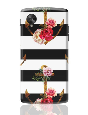 Google Nexus 5 Covers | Anchor Floral Stripes Google Nexus 5 Case Cover Online India