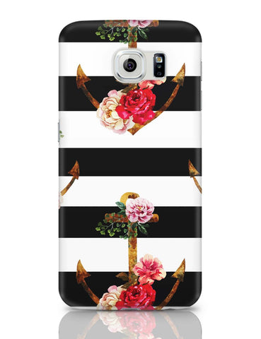 Samsung Galaxy S6 Covers | Anchor Floral Stripes Samsung Galaxy S6 Case Covers Online India
