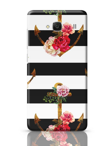 Xiaomi Redmi 2 / Redmi 2 Prime Cover| Anchor Floral Stripes Redmi 2 / Redmi 2 Prime Case Cover Online India