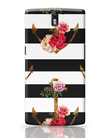 OnePlus One Covers | Anchor Floral Stripes OnePlus One Case Cover Online India