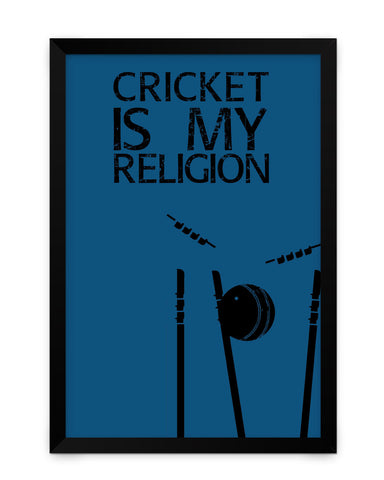 Framed Poster | Cricket is My Religion Matte Laminated Framed Poster PosterGuy.in