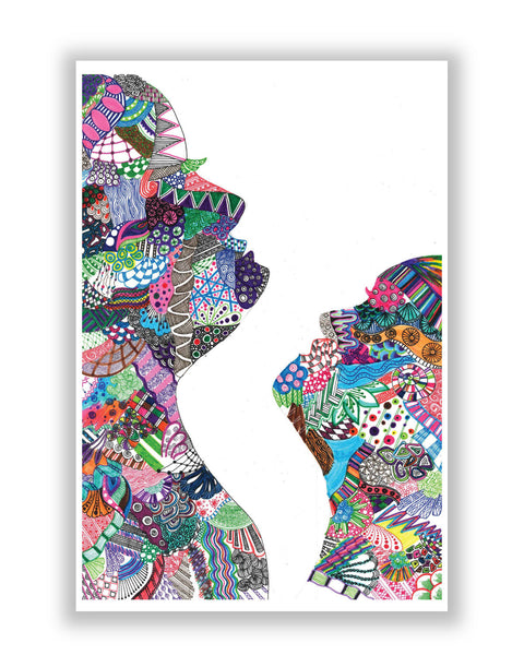 Buy Art Posters Online | Faces Multi Colour Line Art Poster | PosterGuy.in