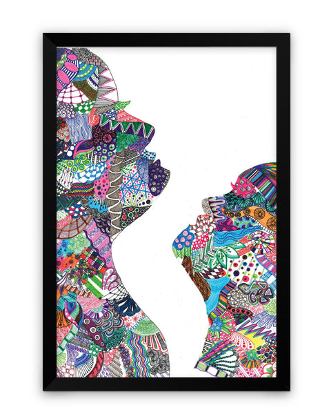 Framed Poster | Faces Multi Colour Line Art Framed Poster PosterGuy.in
