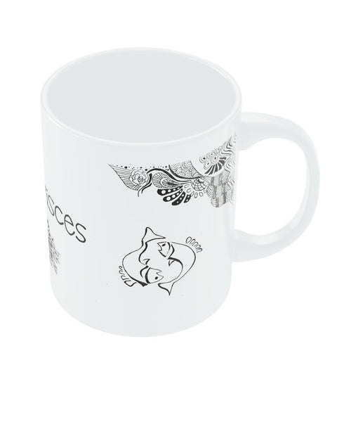 Pisces Zodiac Sign White Coffee Mugs
