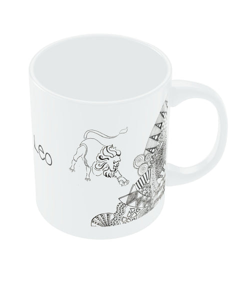Leo Zodiac Sign White Coffee Mugs