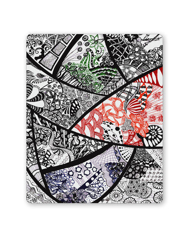 Mouse Pads | Cute Line Art Doodle Black, Red and Green Mouse Pad Online India | PosterGuy.in