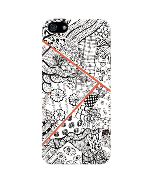 Cute Line Art Doodle Black iPhone 5/5S Case by Stuti 2