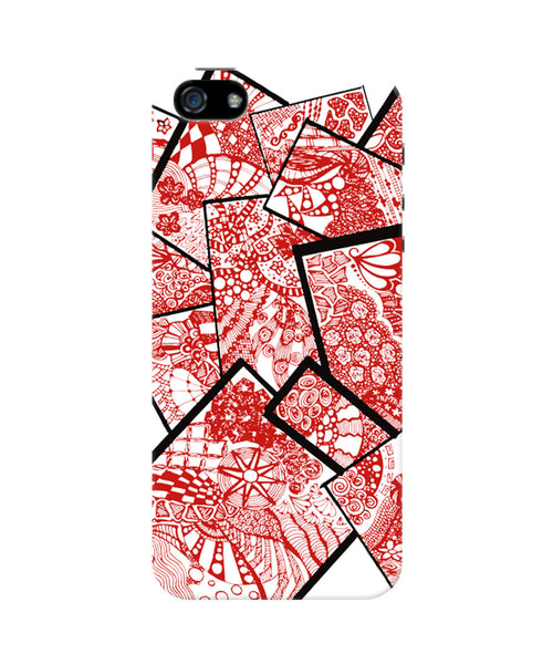 Cute Line Art Doodle Red iPhone 5/5S Case by Stuti 1