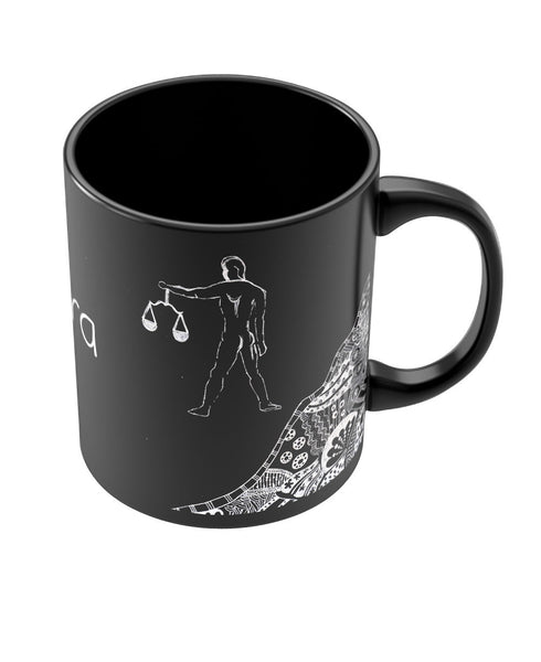 Libra Zodiac Sign Black Coffee Mugs