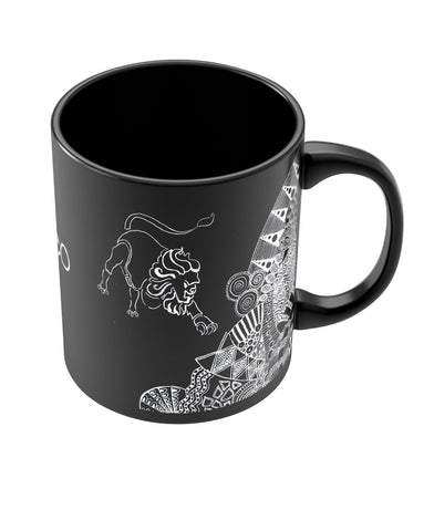 Leo Zodiac Sign Black Coffee Mugs