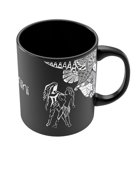 Gemini Zodiac Sign Black Coffee Mugs