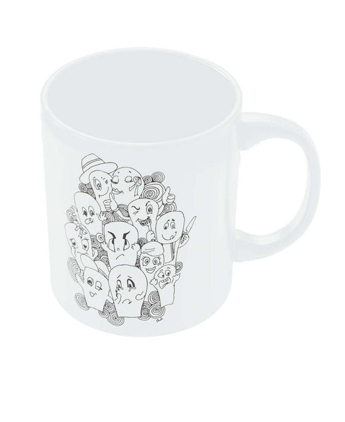 Funny Faces Graphic Illustration Coffee Mug Online India