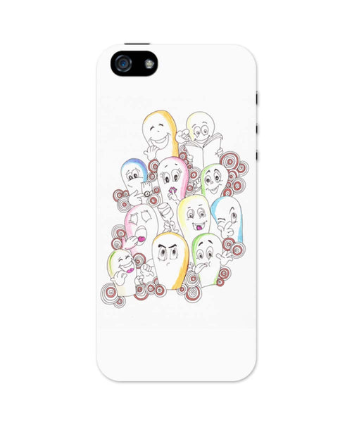 iPhone 5 / 5S Cases| Cluster Of Emoticons/Cartoons iPhone 5 / 5S Case 1103184517 Online India