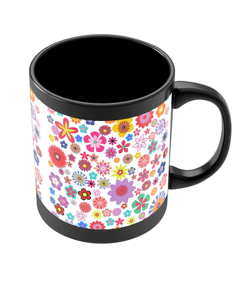 Coffee Mugs Online | Floral Pattern Illustration Black Coffee Mug Online India