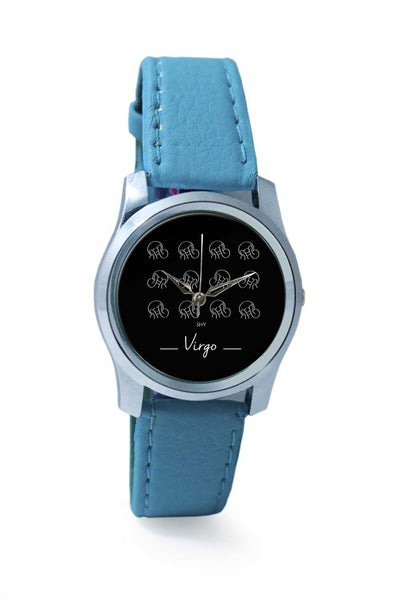 Women Wrist Watch India | Shy Virgo zodiac sign pattern black Wrist Watch Online India