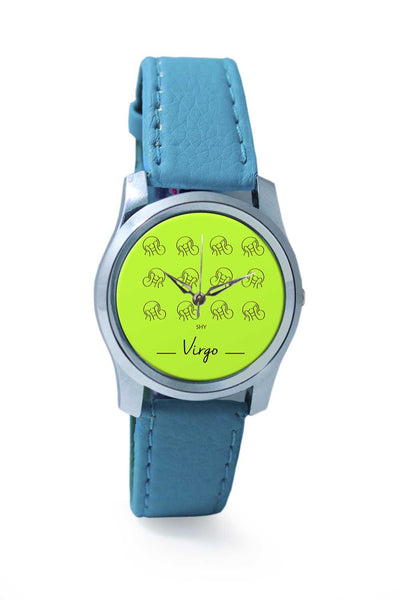 Women Wrist Watch India | Shy Virgo zodiac sign pattern green Wrist Watch Online India
