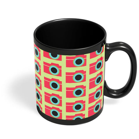Camera Pattern Black Coffee Mug Online India