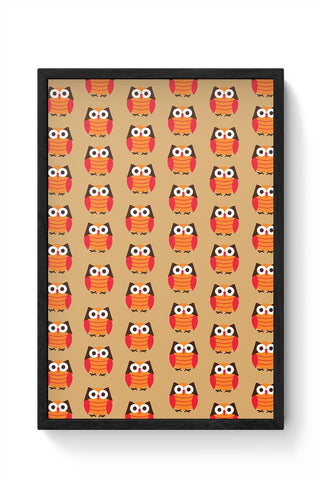 Cute Owl Pattern Framed Poster Online India
