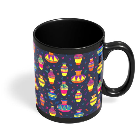 Indian Pots Pattern Black Coffee Mug Online India