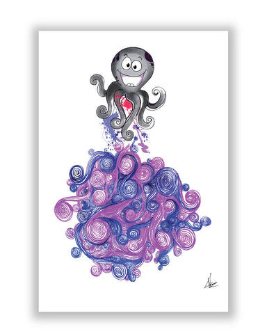 Buy Art Posters Online | Octopus Quirky Line Art Poster | PosterGuy.in