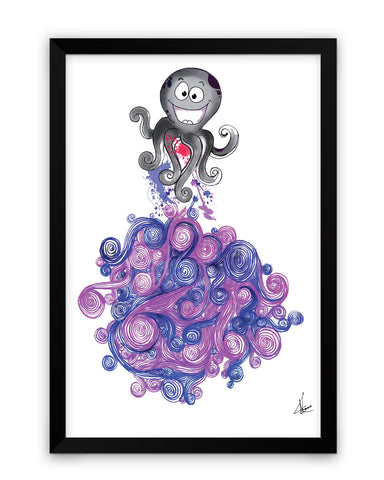 Framed Poster | Octopus Quirky Line Art Matte Laminated Framed Poster PosterGuy.in