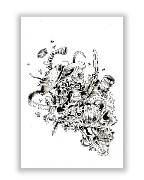 Buy Art Posters Online | Mechanical Skull Black Poster | PosterGuy.in