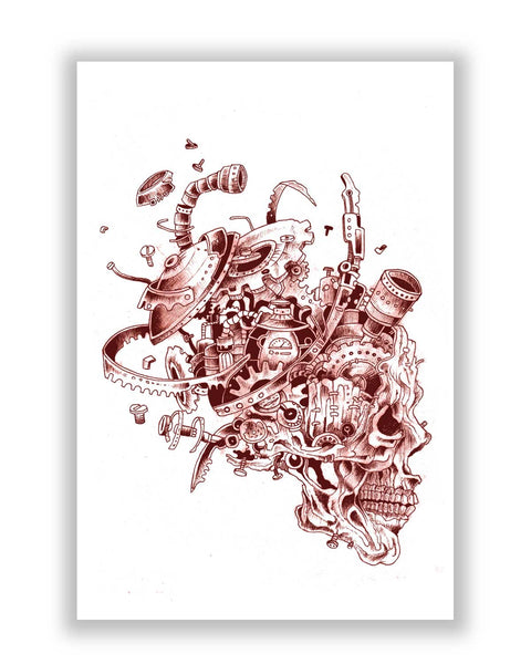 Buy Art Posters Online | Mechanical Skull Red Poster | PosterGuy.in