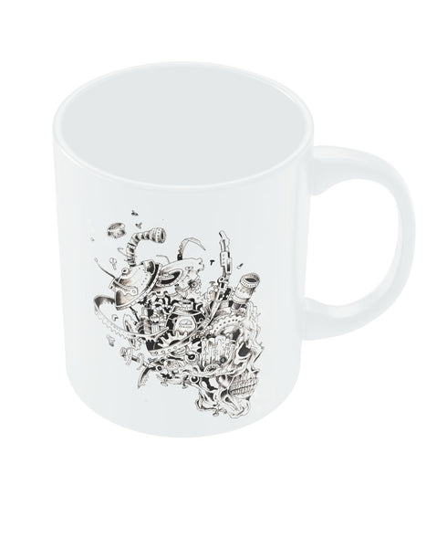 Mechanical Skull Black Coffee Mug Online India