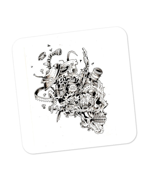 Mechanical Skull Black Coaster Online India