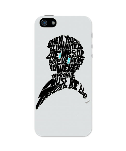 Sherlock Holmes Benedict Cumberbatch Typography Illustration with Motivational Quote  iPhone 5 / 5S Case