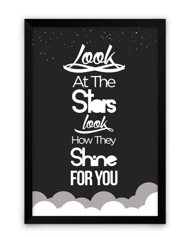 Framed Poster | Look at the stars Coldplay Yellow Inspired Framed Poster PosterGuy.in