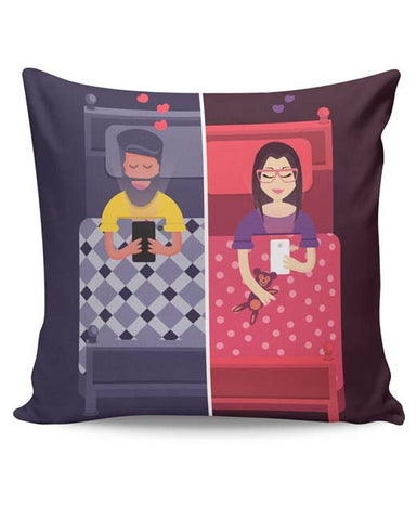 PosterGuy | Texting Couple Cushion Cover Online India